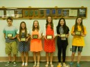Wawasee Middle School eighth-grade students who earned straight A grades all three years of middle school included, from left, Isaiah Metcalf, Tiffany Koble, Kyndall Fisher, Hannah-Marie Lamle, Rosalie Garro and Amanda Mall.