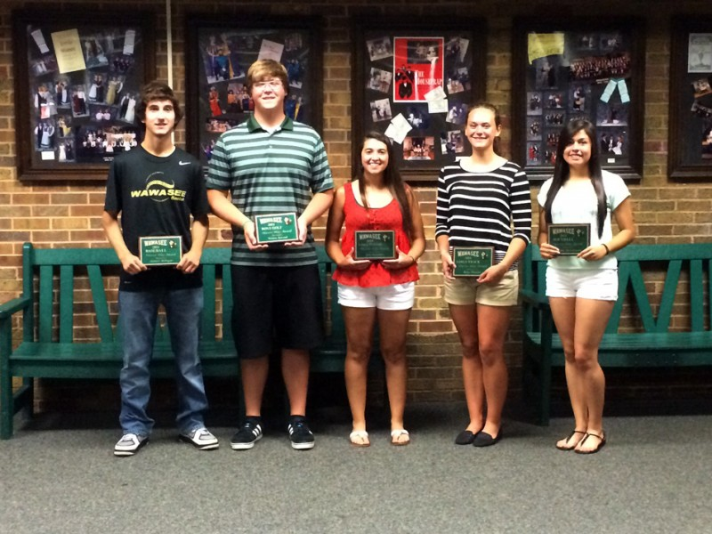 Recipients of the Wawasee Warrior Way awards for the spring of 2014 were, from left, Andrew Milligan (baseball); Tristen Atwood (boys golf); Jada Antonides (girls tennis); Ruby Minnick (girls track); and Cristina DeLaFuente (softball). Not pictured is Ethan Brown (boys track). (Photo by Mike Deak)