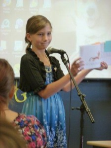 Breanna Kennedy shares information she researched about famous Hoosier, Jim Davis, the creator of Garfield. (Photo provided)