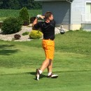 Luke Johnson of Warsaw tees off on number three.