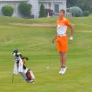 Ryan Cultice shows that a good vertical jump could come in handy for golfers.