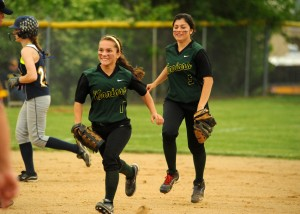 Wawasee outfielders Ale Brito, center, and Cristina DeLaFuente both made huge plays at the Fairfield Sectional.