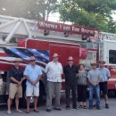The Village at Winona will be smokin' hot on Saturday with the celebration of the WLFD 100 year anniversary and the CCS Blue Jeans & BBQ Gala. Pictured are Village manager Jeremy Marsh; Community Cowboy Chefs, Mayor Joe Thallemer, Gordy Clemens, John Tucker, Dana Leon Huffer, Matt Metzger and Dane Miller's Guest Chef, Mitch Titus. chief of Winona Lake Fire Department.