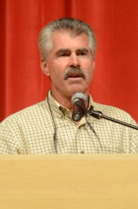 Former Cub Bill Buckner speaks at the Opening Ceremonies Tuesday night for the BPA World Series.