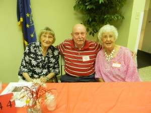Three former students from the class of 1944 were in attendance at the North Webster alumni banquet. From left are Maxine (Hamman) Long, Chuck Brower and Inez (Gorden) Caywood. (Photo by Andrea Yeiter)