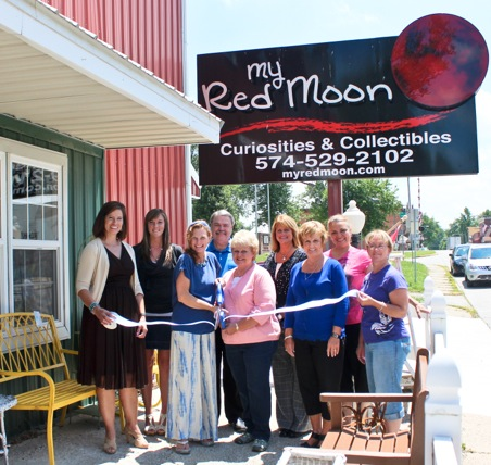 Pictured from left: Renea Salyer, KChamber VP member relations; Jen Pyle, KChamber; Tonya Bowser, My Red Moon co-owner; Chris Mahan, KChamber Ambassador, Mahan 9 Group; Aloha Gest, My Red Moon; Angie Robbins, KChamber Ambassador, PNC Bank; Becky Plummer, KChamber Ambassador, Staffmark; Laurie Schotz, KChamber Ambassador, Warsaw PAC; Bernadine Boggs, Pierceton Chamber. Not pictured: Mark Phillabaum, My Red Moon co-owner.