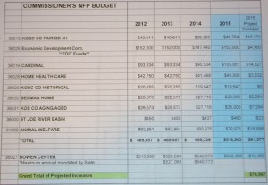 2015 Proposed Budgets for Non-Profit Organizations in Kosciusko County