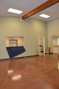 Floors were raised in the cafeteria room to ensure handicap accessibility throughout the building.  (Photo by Alyssa Richardson)