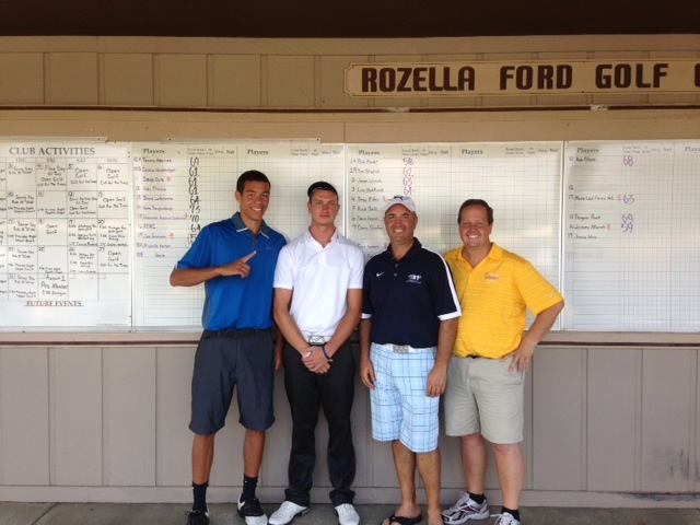 The foursome of Paul Finley, Rich Haddad, Zach Finley and Spencer Mortola took top honors Saturday in the Warsaw Lady Tiger Girls Basketball and Volleyball golf outing (Photo   provided)