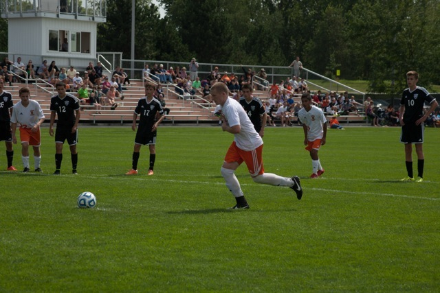 Sam Allbritten prepares to take a penalty kick for Warsaw Saturday during a 2-1 win over Penn (Photo by Ansel Hygema)