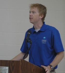 Dr. Nate Bosch, director of Center for Lakes and Streams, presents a program at Syracuse Lake Association Meeting Saturday.