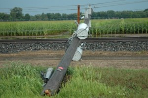 One of three utility poles damaged by high straight line winds that cut through the area Tuesday afternoon. The damage occurred along Old SR 15 about one mile south of Milford.