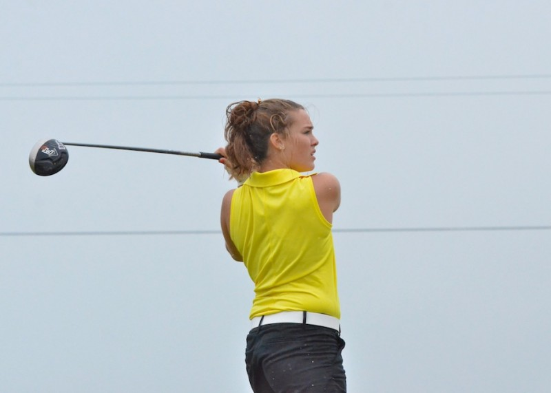 Wawasee's Aubrey Schmeltz checks out her drive on hole number three during Tuesday's match. (Photos by Nick Goralczyk)