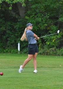 Kylee Rostochak gets a hold of a drive on number 13 at South Shore.