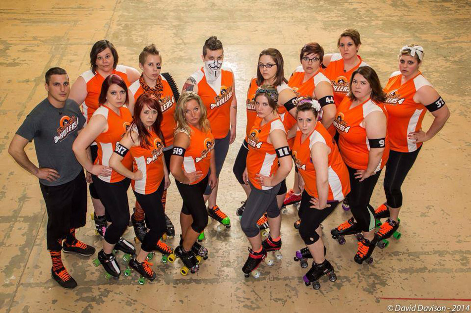 The Bone City Rollers roller derby team are the new team on the block in Warsaw, but not intimidated by anyone. (Photo by David Davison)