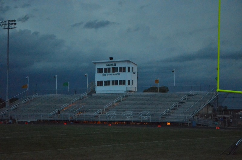 Dark, stormy skies hovered over Warrior Field all evening, forcing a postponement of the much anticipated game against Northridge.
