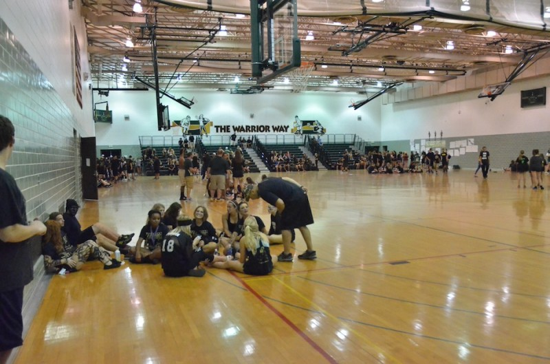 Wawasee students and faculty waited patiently in the annex gym before being told to about the postponement.
