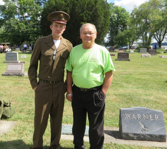 Martin Koher of North Webster (right) is pictured with Forrest Boesenberg who portrayed Martin's late brother Kenneth Koher (1936-1956) during last week's Cemetery Walk.
