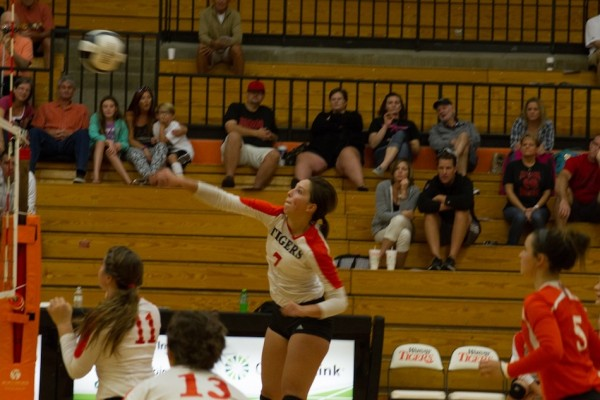 Celia Heckert delivers a big swing at the net for the Tigers Saturday.