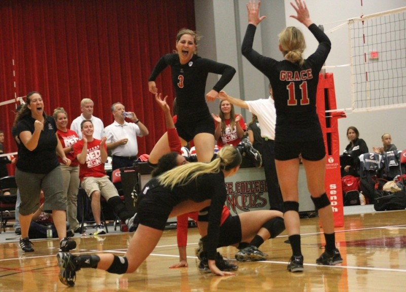 Grace'sMegan Johnson celebrates during a match earlier this season (Photo provided by the Grace College Sports Information Department).