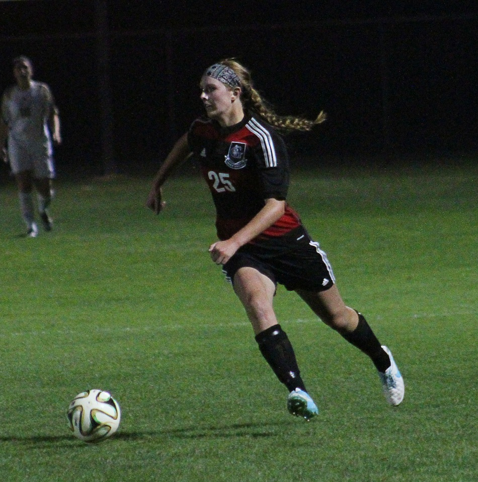Meredith Hollar is shown earlier this season for Grace. The former WCHS star had two goals and an assist Friday night in a Lancer win (File photo provided by the Grace College Sports Information Department)