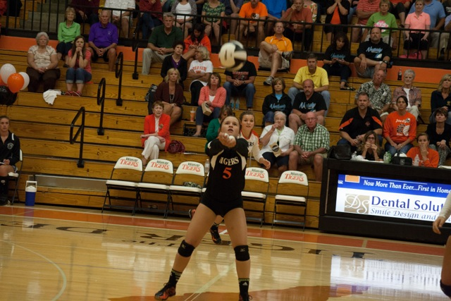 Peyton Adamiec passes the ball for the Tigers Tuesday.