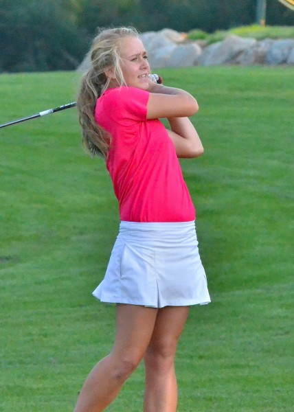 Northridge's Lucy Wisolek second guesses her shot on  number nine.