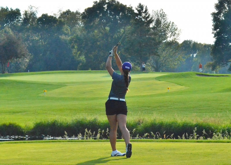 Mikala Mawhorter tees off on number eight for the Warriors.