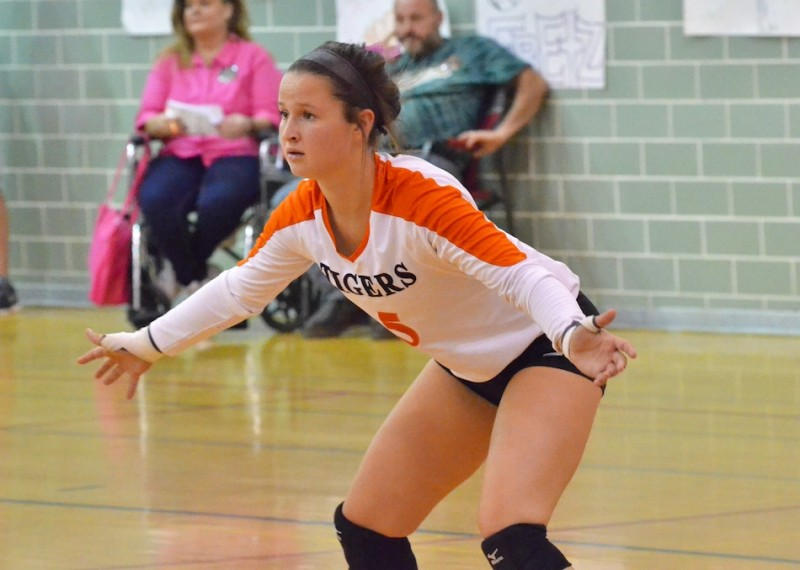 Warsaw's Peyton Adamiec gets set to receive a serve from Wawasee during the Tigers 3-0 victory over the Warriors Thursday night. (Photos by Nick Goralczyk)