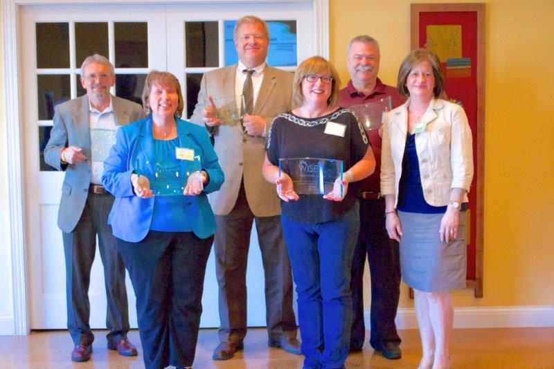 W.I.S.E. Inc. recognizes founding sponsors and legal counsel. From left are Lynn Kendall, Miles Printing (Founding Sponsor); Debbie Yingling, Paragon Medical (Founding Sponsor); Jay Rigdon, Rockhill Pinnick LLP (Legal Counsel); Angela Grove-Armstrong, Biomet (Founding Sponsor); Chris Mahan, Mahan 9 Group (Founding Sponsor); Tammy Allen, OrthoWorx, W.I.S.E. Inc. president. (Photo provided)