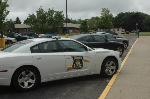Police officers from several agencies are at Wawasee High School following a telephone call, threatening in nature, caused a lock down. (Photo by Deb Patterson)