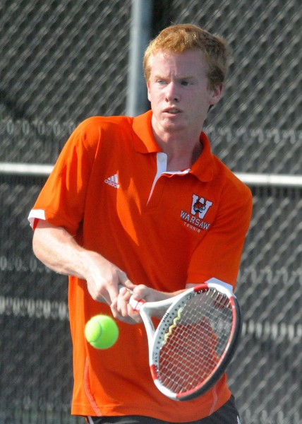 Caleb Ray will play for third place on Saturday at No. 3 singles in the league tourney for Warsaw.