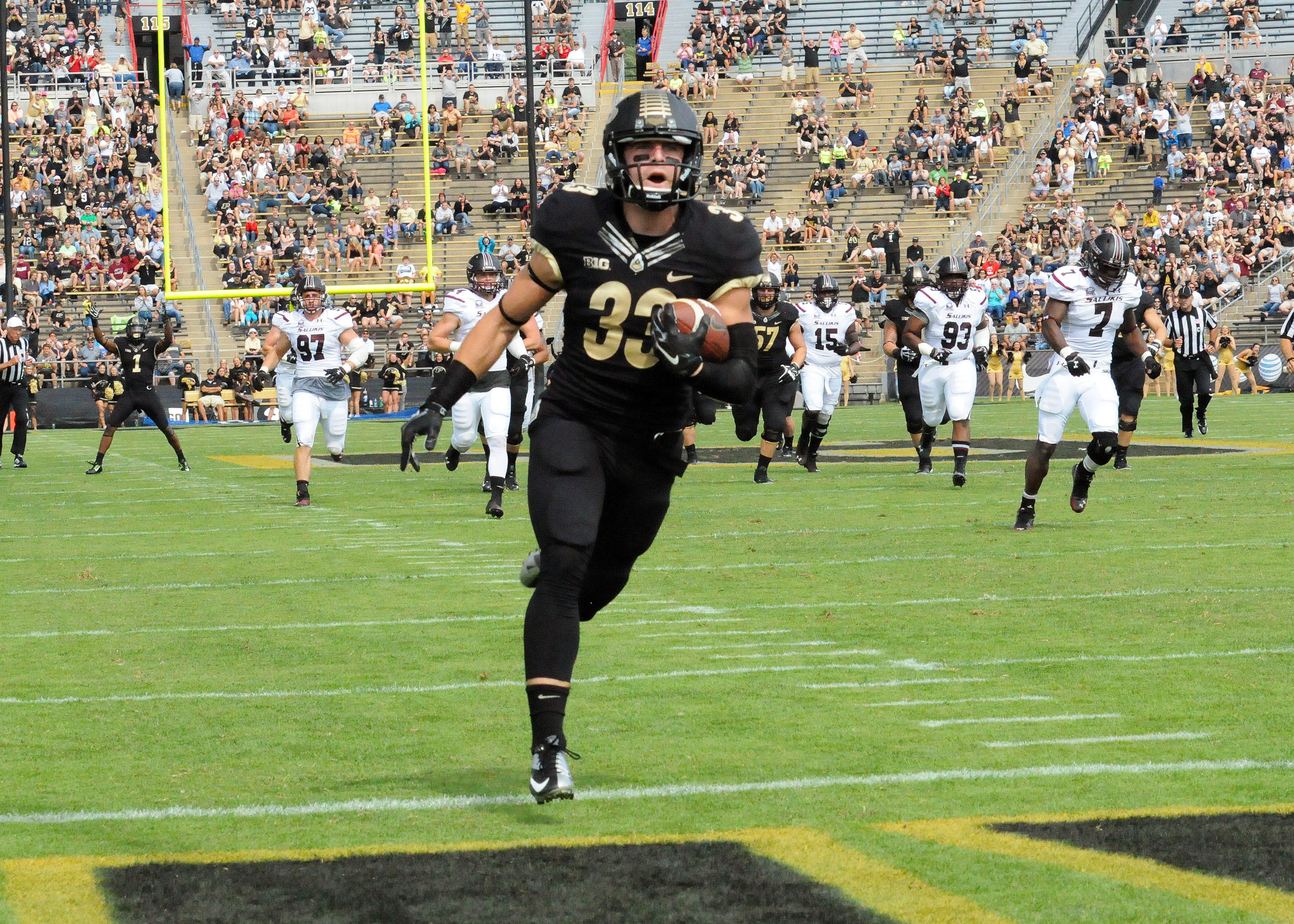 Purdue wide receiver Danny Anthrop finds the end zone after scoring on a 44-yard touchdown pass. Purdue beat Southern Illinois 35-13 Saturday afternoon. (Photos by Dave Deak)