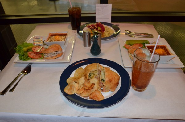 Guests can enjoy a variety of food options from caesar salads and cuban sandwiches to chicken fettucini and crème brûlée.  (Photo by Alyssa Richardson)