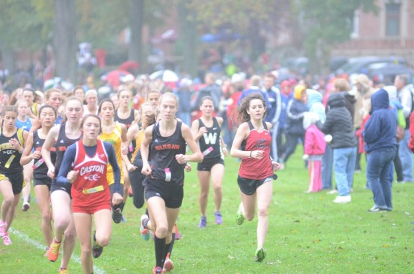 Allison Miller of Warsaw leads the pack early on in the regional Saturday.
