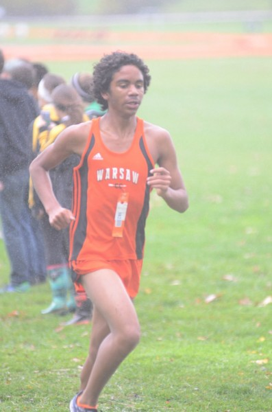 Avery Torres nears the finish line for the Tigers.