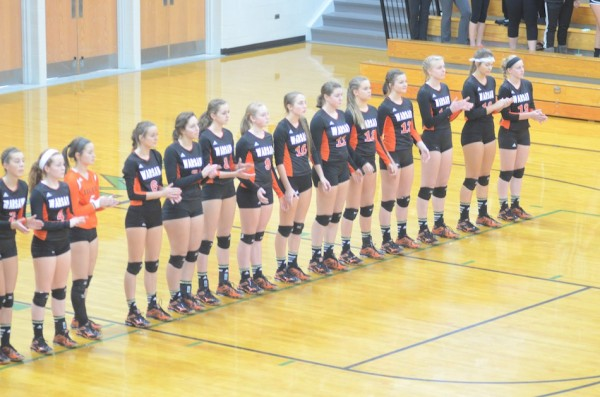 The Tigers await the start of their sectional match Thursday night at Concord.