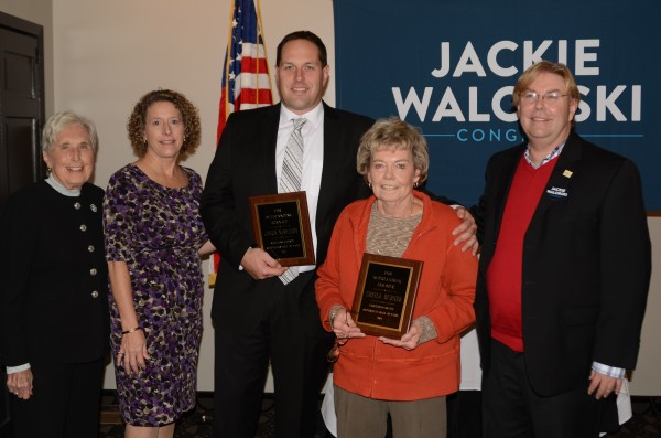 Jean Northernor, Marsha McSherry are shown with Republican Hall of Fame recipients Jason McSheery and Sheila Burner and Randy Girod, county chairman. (Photo by Deb Patterson)