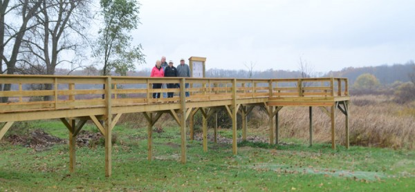 The raised wooden walkway provides a view of the wetlands
