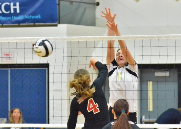 Liz Hardy was stellar Saturday for Wawasee. Hardy is pictured here getting her first of six blocks.