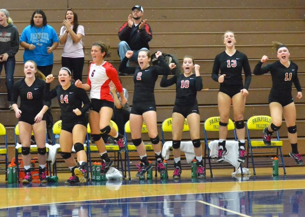 The NorthWood bench erupts as the team clinches a victory in game two over Wawasee.
