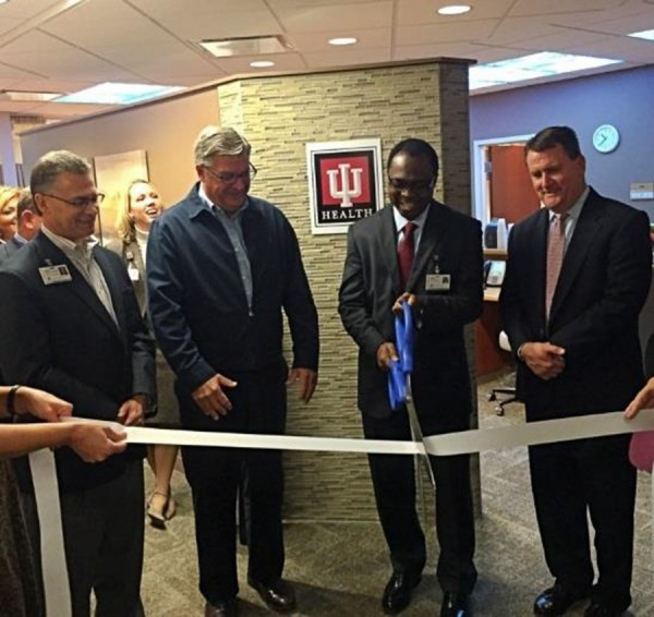 Randy Christophel, President and CEO, IU Health Goshen; Mayor Joseph Thallemer, City of Warsaw; Ebenezer Kio, MD, Medical Oncologist, IU Health Goshen Center for Cancer Care; Mark Dobson, President and CEO, Kosciusko Chamber of Commerce