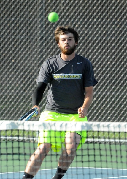 Jake Hutchinson of Wawasee extended his tennis season Wednesday night as he and teammate Nate Haines won in No. 1 doubles sectional play (File photo by Mike Deak)