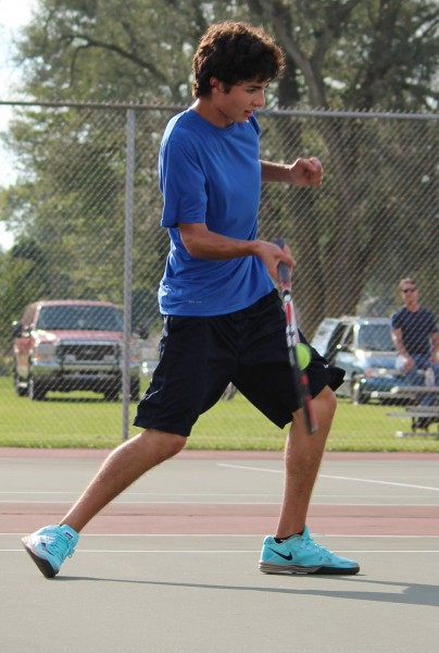 Triton senior Jared Fisher was a winner in No. 1 singles sectional play Wednesday night (Photo provided by Jennifer Mosier)