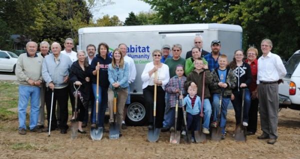 Ground breaking for a new Habitat for Humanity Kosciusko County home to be constructed in North Webster was held Tuesday. Habitat, area churches and community organizations are partnering with the family of Joe and Nichole Roberson to build the home. In front is JJ Roberson. From the left in the second row are Jon Sroufe, Max Miller, Diana Creech, Lori Donahoe, Kelly Duncan, Evelyn Steffen, David Kaufman, Trinity Roberson, Logan Roberson, Nichole Roberson, Joe Roberson, Collin Roberson, Leylah Roberson and Pat Park. In back are Harlan Steffen, Jeff Owens, Brad Cox, Jeff Blair, Don Cross, Dave Bickel and Mickey Kaufmann.