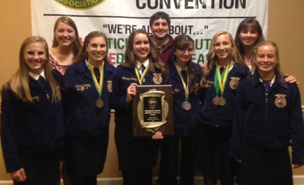 Wawasee High School's FFA horticulture judging team took first place at the national competition in Kentucky. In front, from left, are team members Molly Swartz, Shelby Swartz, Katie Acton, Sophia Nyce, Sarah Harden and Leeann Estrada. In the back are faculty advisors Mariah Roberts and Tyler Boganwright and the team's coach, Joan Harden.