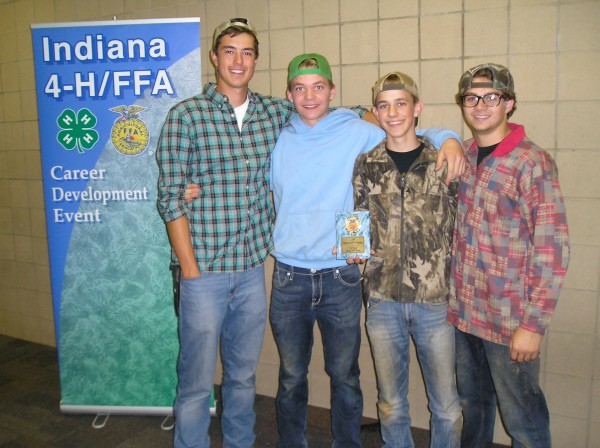 From left are the Wawasee FFA soils judging team of Mason Germonprez, Jared Templin, Kevin Schlipf and Conner Sausaman. The team placed third at the state contest during the weekend.