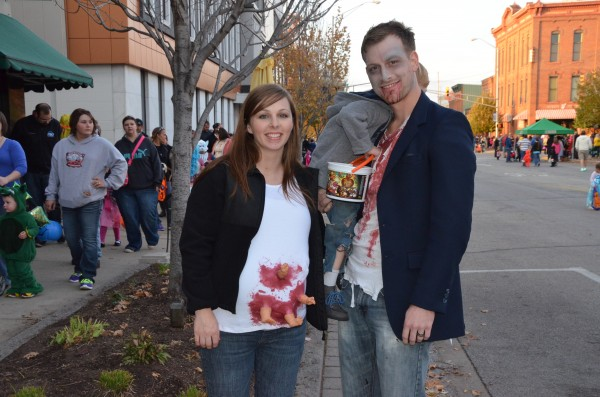 (From left) Kati Rice, Becksley Rice and Ben Rice  of Warsaw pose as a zombie family during Warsaw's Spooktacular.