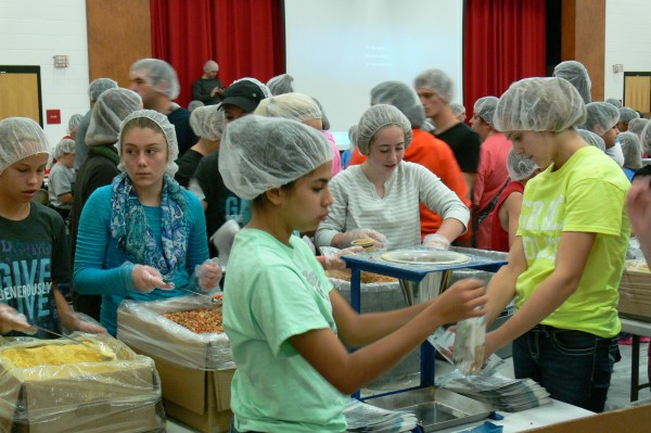 Lakeland Christian Academy students, staff and faculty worked side-by-side with WCS and community volunteers to package meals for Feed My Starving Children.  (Photo provided)