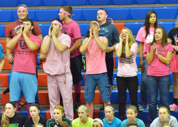 The few and the proud. The members of the Whitko student section were scarce, but still in full throat Tuesday night.